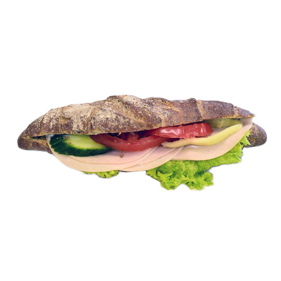 Csirkemell sonkás kornspitz szendvics - AranyCipó pékség